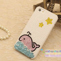 Bling Dolphin Crystal Cases Rhinestone Pearls Covers for iPhone 5S - White