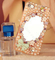 Bling Mirror Bowknot Crystal Cases Pearls Covers for iPhone 5S - Pink