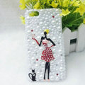 Bling Pretty girl Rhinestone Crystal Cases Pearls Covers for iPhone 5S - Red