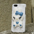 Bling Rabbit Crystal Cases Rhinestone Pearls Covers for iPhone 5S - Blue