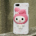 Bling Rabbit Crystal Cases Rhinestone Pearls Covers for iPhone 5S - Rose
