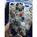 Bling S-warovski crystal cases Ballet girl Skull diamond cover for iPhone 5S - Black