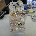 Bling S-warovski crystal cases Bowknot diamond cover for iPhone 5S - White