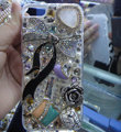 Bling S-warovski crystal cases Bowknot diamond covers for iPhone 5S - White
