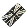 Bling S-warovski crystal cases Britain flag diamond covers for iPhone 5S - Black