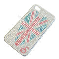 Bling S-warovski crystal cases Britain flag diamond covers for iPhone 5S - White