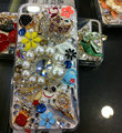 Bling S-warovski crystal cases Butterfly diamond cover for iPhone 5S - White