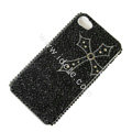 Bling S-warovski crystal cases Cross diamond covers for iPhone 5S - Black
