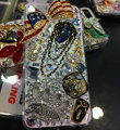Bling S-warovski crystal cases Crown diamond cover for iPhone 5S - White