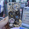 Bling S-warovski crystal cases Crown diamond covers for iPhone 5S - White