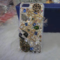 Bling S-warovski crystal cases Eiffel Tower diamond covers for iPhone 5S - White