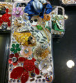 Bling S-warovski crystal cases Fish Flower diamond cover for iPhone 5S - Blue