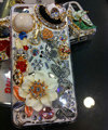 Bling S-warovski crystal cases Flower Butterfly diamond cover for iPhone 5S - White