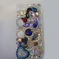 Bling S-warovski crystal cases Heart diamond cover for iPhone 5S - Blue