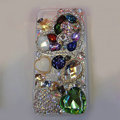 Bling S-warovski crystal cases Heart diamond cover for iPhone 5S - Green