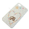 Bling S-warovski crystal cases Heart diamond covers for iPhone 5S - White