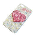 Bling S-warovski crystal cases Love Heart diamond covers for iPhone 5S - White