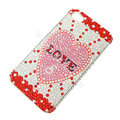 Bling S-warovski crystal cases Love diamond covers for iPhone 5S - Red