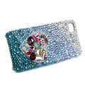 Bling S-warovski crystal cases Love heart diamond covers for iPhone 5S - Blue