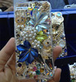 Bling S-warovski crystal cases Maple Leaf diamond cover for iPhone 5S - Blue