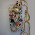 Bling S-warovski crystal cases Panda pearl diamond cover for iPhone 5S - White