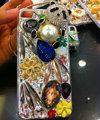 Bling S-warovski crystal cases Panda pearls diamond cover for iPhone 5S - White