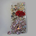 Bling S-warovski crystal cases Red Ballet girl diamond cover for iPhone 5S - Pink