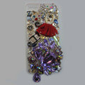 Bling S-warovski crystal cases Red Ballet girl diamond cover for iPhone 5S - Purple