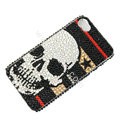 Bling S-warovski crystal cases Skull diamond covers Skin for iPhone 5S - Black