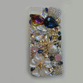 Bling S-warovski crystal cases Spider diamond cover skin for iPhone 5S - White