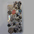 Bling S-warovski crystal cases Tiger diamond cover for iPhone 5S - Black