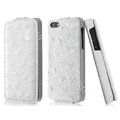 IMAK Ostrich Series leather Case holster Cover for iPhone 5S - White