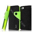 IMAK cross leather case Button holster holder cover for iPhone 5S - Black