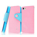 IMAK cross leather case Button holster holder cover for iPhone 5S - Pink