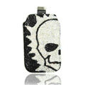 Luxury Bling Holster Covers Skull diamond Crystal Cases for iPhone 5S - White