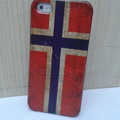 Retro Norway flag Hard Back Cases Covers Skin for iPhone 5S