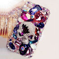 S-warovski Bling crystal Cases Skull Luxury diamond covers for iPhone 5S - Purple