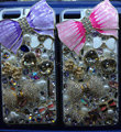 S-warovski crystal cases Bling Bowknot diamond cover for iPhone 5S - Purple