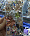 S-warovski crystal cases Bling Maple Leaf diamond cover for iPhone 5S - White