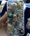 S-warovski crystal cases Bling Owl fish diamond cover for iPhone 5S - White