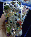 S-warovski crystal cases Bling Panda crown diamond cover for iPhone 5S - White