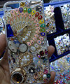 S-warovski crystal cases Bling Peacock diamond cover for iPhone 5S - White