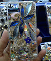 S-warovski crystal cases Flower Rabbit Bling diamond cover skin for iPhone 5S - Blue