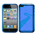 Slim Metal Aluminum Silicone Cases Covers for iPhone 5S - Blue