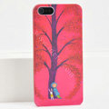 Ultrathin Matte Cases Lonely child Hard Back Covers for iPhone 5S - Red