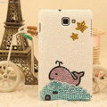 Bling Whale Crystal Cases Pearls Cover for Samsung GALAXY NoteIII 3 - White