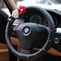 Auto Car Steering Wheel Cover Floral Imitation sheepskin Diameter 15 inch 38CM - Black