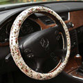 Auto Car Steering Wheel Cover Floral Lace Polyester Diameter 15 inch 38CM - White