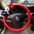Auto Car Steering Wheel Cover Flower Imitation sheepskin Diameter 15 inch 38CM - Red
