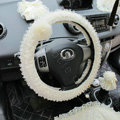 Auto Car Steering Wheel Cover Flower Lace Polyester Diameter 15 inch 38CM - Beige